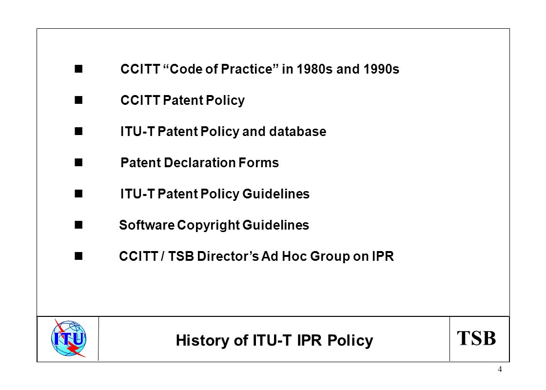 TSB 15 n Patent Statements received :918 n General Patent Statements received: 15 Statements received refer to option 2 (reasonable terms and conditions ) : 94% Statistics
