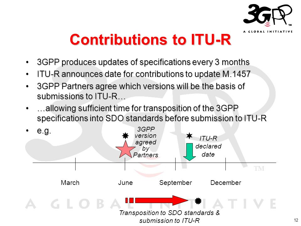 12 Contributions to ITU-R 3GPP produces updates of specifications every 3 months3GPP produces updates of specifications every 3 months ITU-R announces