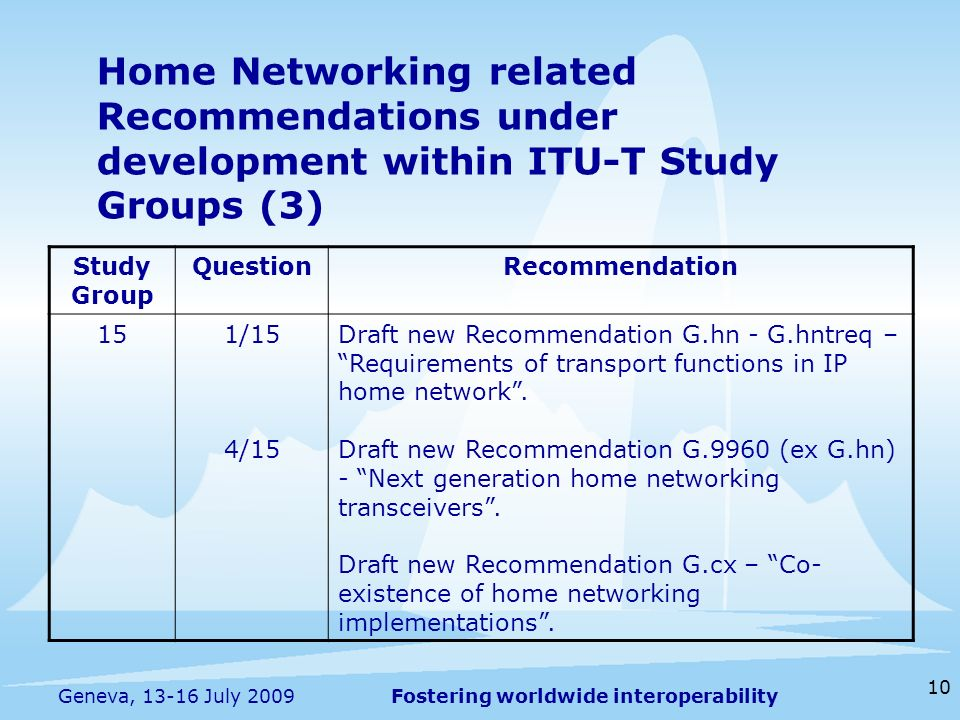 Fostering worldwide interoperability 10 Geneva, 13-16 July 2009 Home Networking related Recommendations under development within ITU-T Study Groups (3