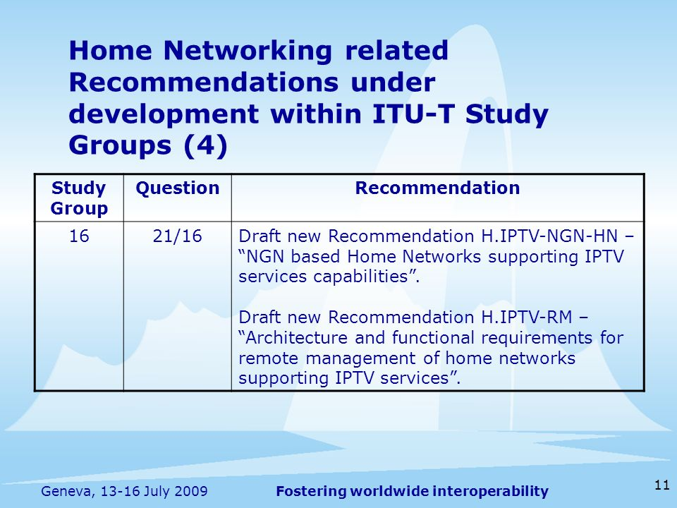 Fostering worldwide interoperability 11 Geneva, 13-16 July 2009 Home Networking related Recommendations under development within ITU-T Study Groups (4) Study Group QuestionRecommendation 1621/16Draft new Recommendation H.IPTV-NGN-HN – NGN based Home Networks supporting IPTV services capabilities.