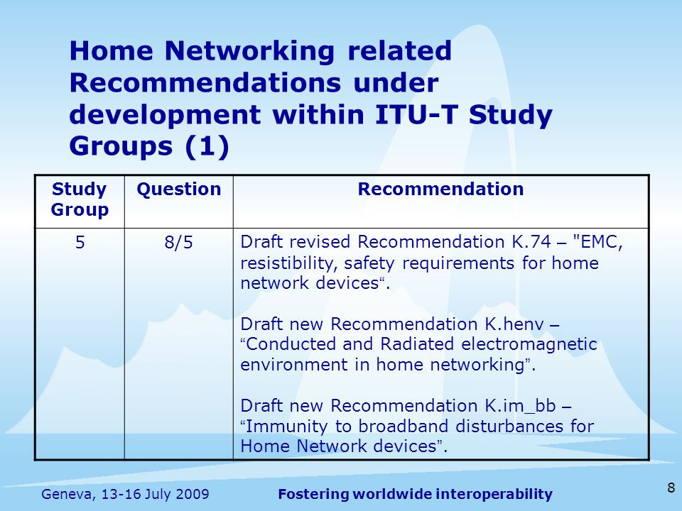 Fostering worldwide interoperability 8 Geneva, 13-16 July 2009 Home Networking related Recommendations under development within ITU-T Study Groups (1) Study Group QuestionRecommendation 58/5Draft revised Recommendation K.74 – EMC, resistibility, safety requirements for home network devices.