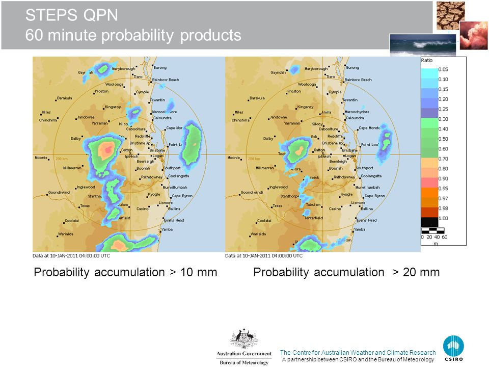 The Centre for Australian Weather and Climate Research A partnership between CSIRO and the Bureau of Meteorology STEPS QPN 60 minute probability produ