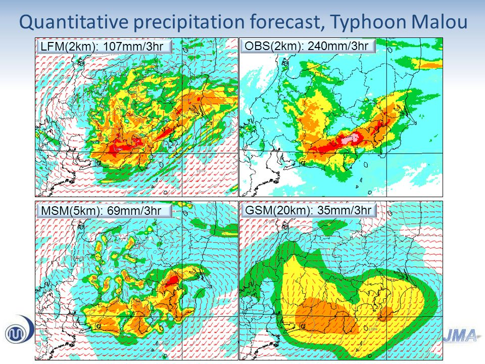 Quantitative precipitation forecast, Typhoon Malou LFM(2km): 107mm/3hr OBS(2km): 240mm/3hr MSM(5km): 69mm/3hr GSM(20km): 35mm/3hr
