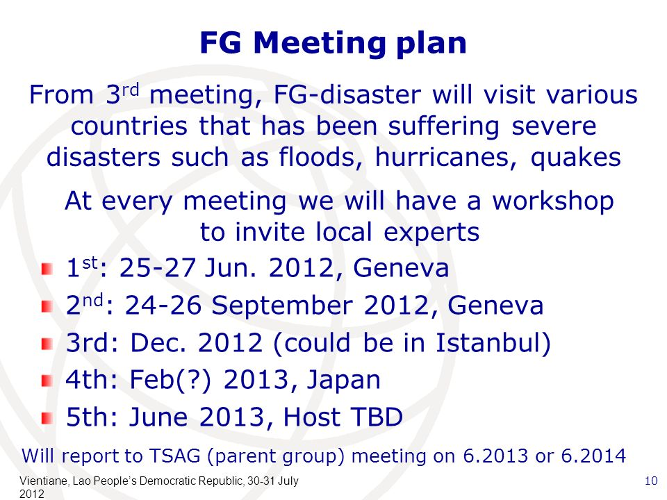 FG Meeting plan 1 st : 25-27 Jun. 2012, Geneva 2 nd : 24-26 September 2012, Geneva 3rd: Dec.