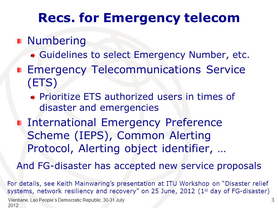 Recs. for Emergency telecom Numbering Guidelines to select Emergency Number, etc.