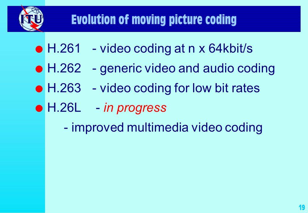 18 Evolution of still picture coding l Classic facsimile (G3, G4)T.4,T.6 l B/W still pictures(JBIG)T.82,T.83 l Cont.