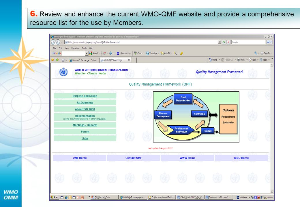 6. Review and enhance the current WMO-QMF website and provide a comprehensive resource list for the use by Members.