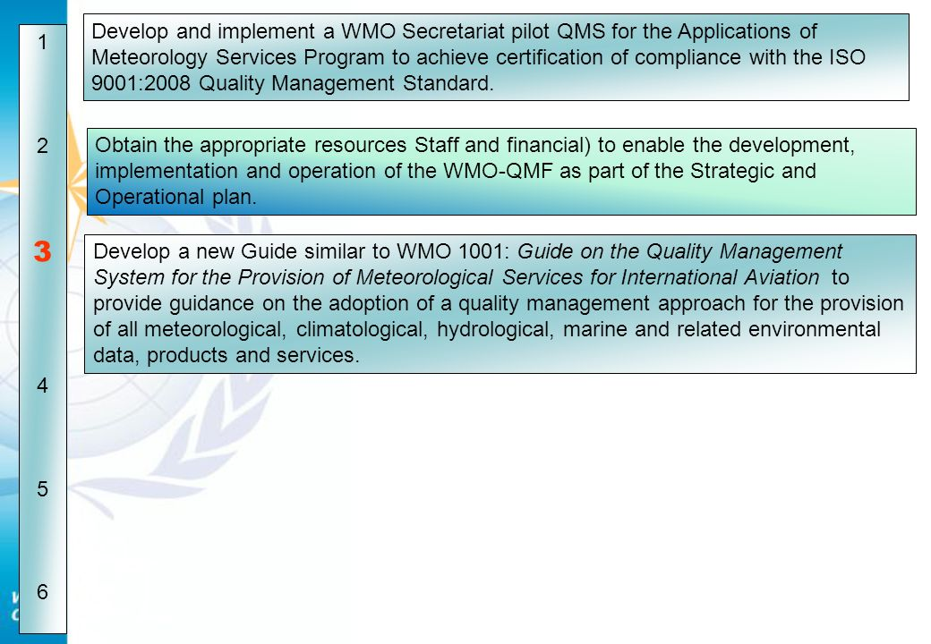Develop and implement a WMO Secretariat pilot QMS for the Applications of Meteorology Services Program to achieve certification of compliance with the