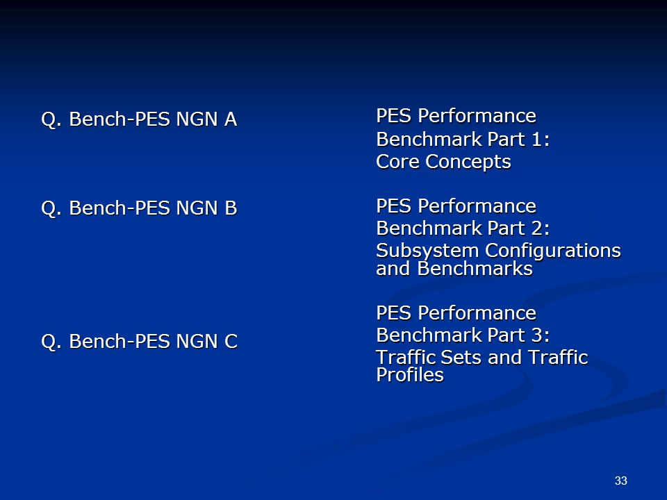 33 Q. Bench-PES NGN A Q. Bench-PES NGN B Q. Bench-PES NGN C PES Performance Benchmark Part 1: Core Concepts PES Performance Benchmark Part 2: Subsyste