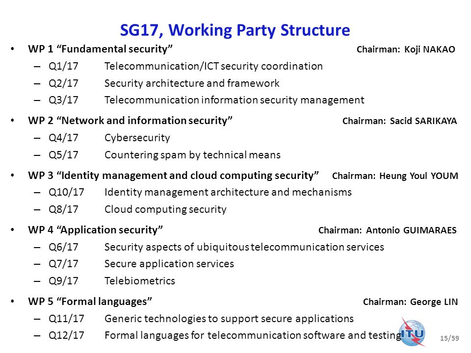 SG17, Working Party Structure WP 1 Fundamental security Chairman: Koji NAKAO – Q1/17Telecommunication/ICT security coordination – Q2/17Security archit