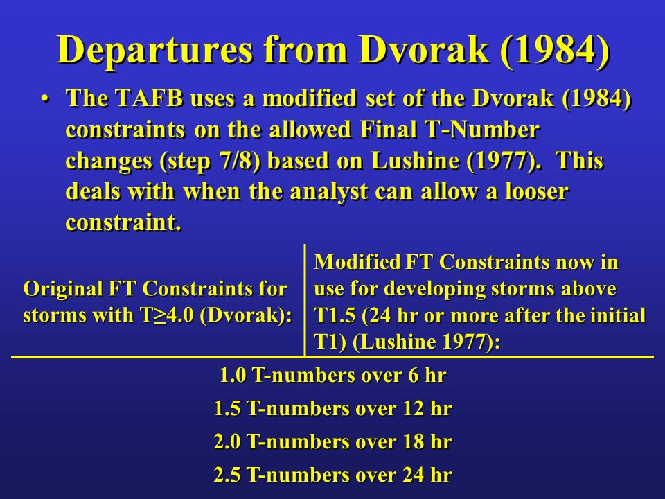 Departures from Dvorak (1984) For step 10/Forecast Intensity, the TAFB uses a combination of Dvorak (1984) and rules from the version of the technique published in 1995.