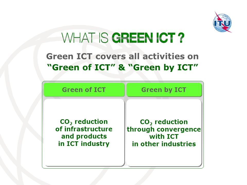 CO 2 reduction through convergence with ICT in other industries CO 2 reduction through convergence with ICT in other industries CO 2 reduction of infrastructure and products in ICT industry CO 2 reduction of infrastructure and products in ICT industry Green ICT covers all activities on Green of ICT & Green by ICT Green of ICT Green by ICT