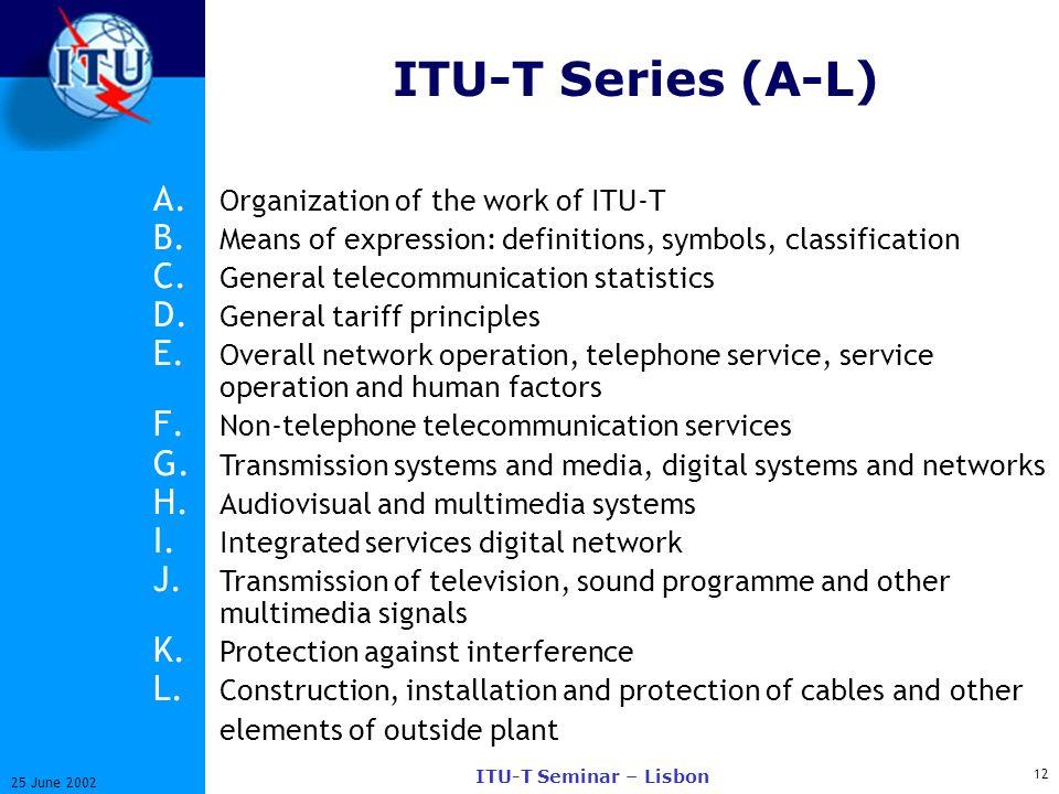 12 25 June 2002 ITU-T Seminar – Lisbon ITU-T Series (A-L) A. Organization of the work of ITU-T B. Means of expression: definitions, symbols, classific