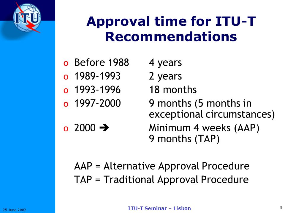 5 25 June 2002 ITU-T Seminar – Lisbon Approval time for ITU-T Recommendations o Before years o years o months o months (5 months in exceptional circumstances) o 2000 Minimum 4 weeks (AAP) 9 months (TAP) AAP = Alternative Approval Procedure TAP = Traditional Approval Procedure