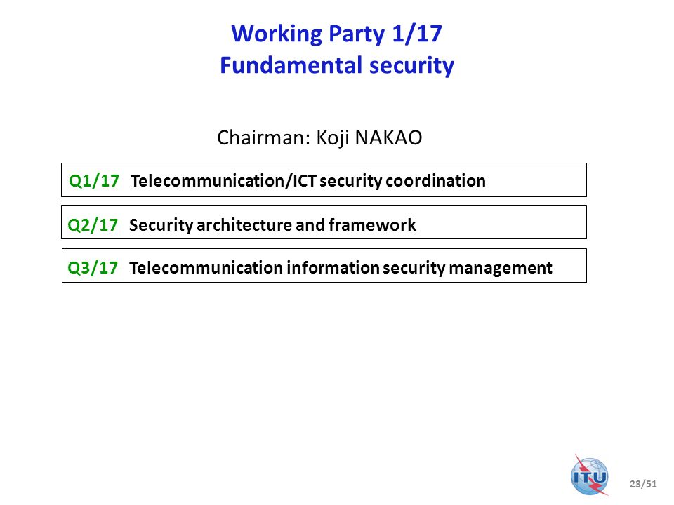 Working Party 1/17 Fundamental security Q1/17 Telecommunication/ICT security coordination Q2/17 Security architecture and framework Q3/17 Telecommunic