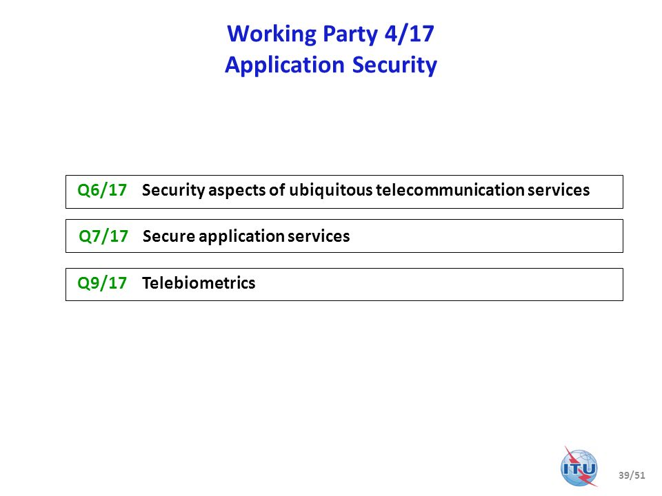 Working Party 4/17 Application Security Q9/17 Telebiometrics Q7/17 Secure application services Q6/17 Security aspects of ubiquitous telecommunication