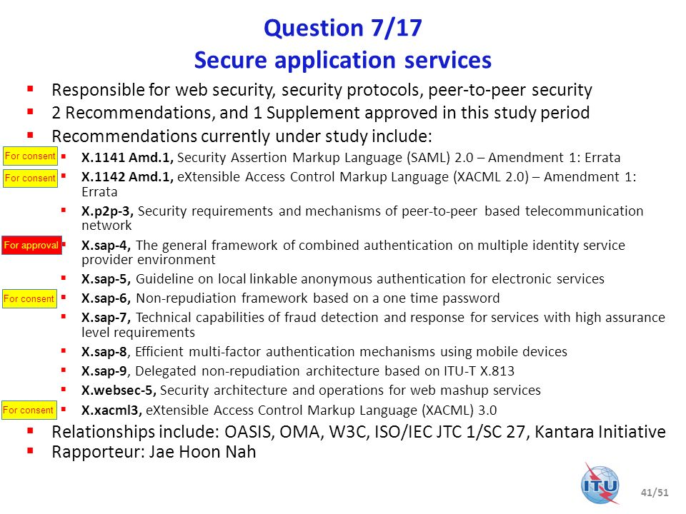 Question 7/17 Secure application services Responsible for web security, security protocols, peer-to-peer security 2 Recommendations, and 1 Supplement