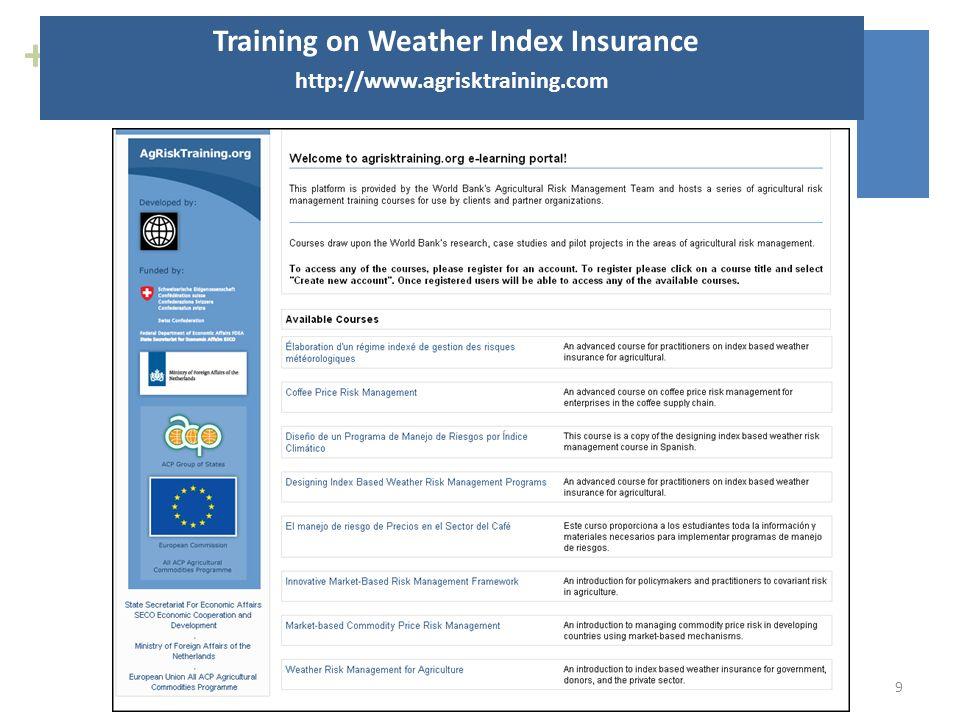 + Training on Weather Index Insurance http://www.agrisktraining.com 9