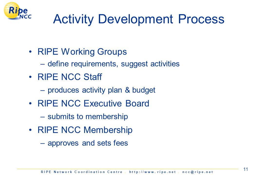 R I P E N e t w o r k C o o r d i n a t i o n C e n t r e. h t t p : / / w w w. r i p e. n e t. n c c @ r i p e. n e t 11 Activity Development Process