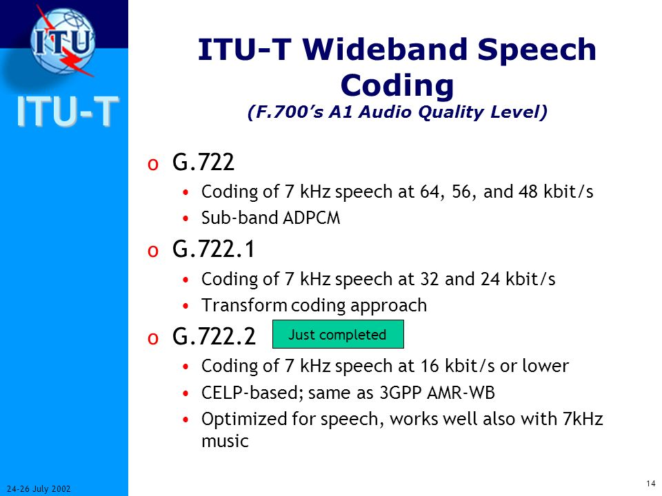 ITU-T 13 24-26 July 2002 JVT/H.264 Layer structure Video Coding Layer Data Partitioning Network Adaptation Layer H.320H.324H.323/IPH.324M etc.
