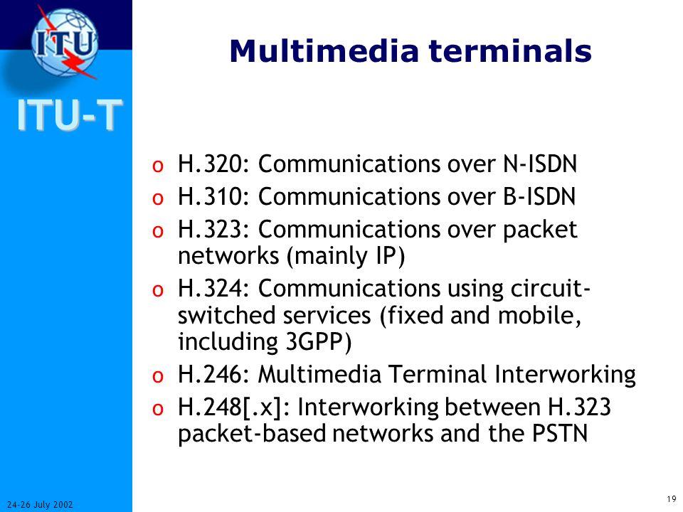 ITU-T 18 24-26 July 2002 Interoperability H.324H.310 H.320H.323 Audio/Video User data Audio/Video Mux QoS RTP/ Non-QoS H.223 H.225.0 H.222.0 H.222.1 H