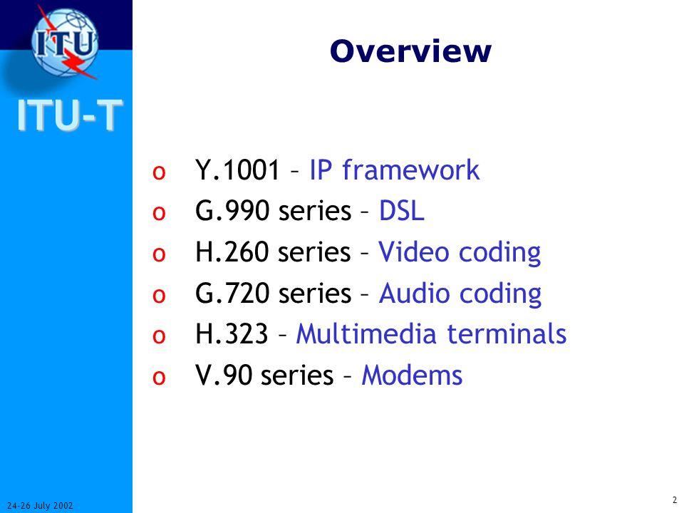 International Telecommunication Union ITU-T Seminar – Kasane, 24-26 July 2002 ITU-T Recommendations explained Greg Jones ITU Telecommunication Standar