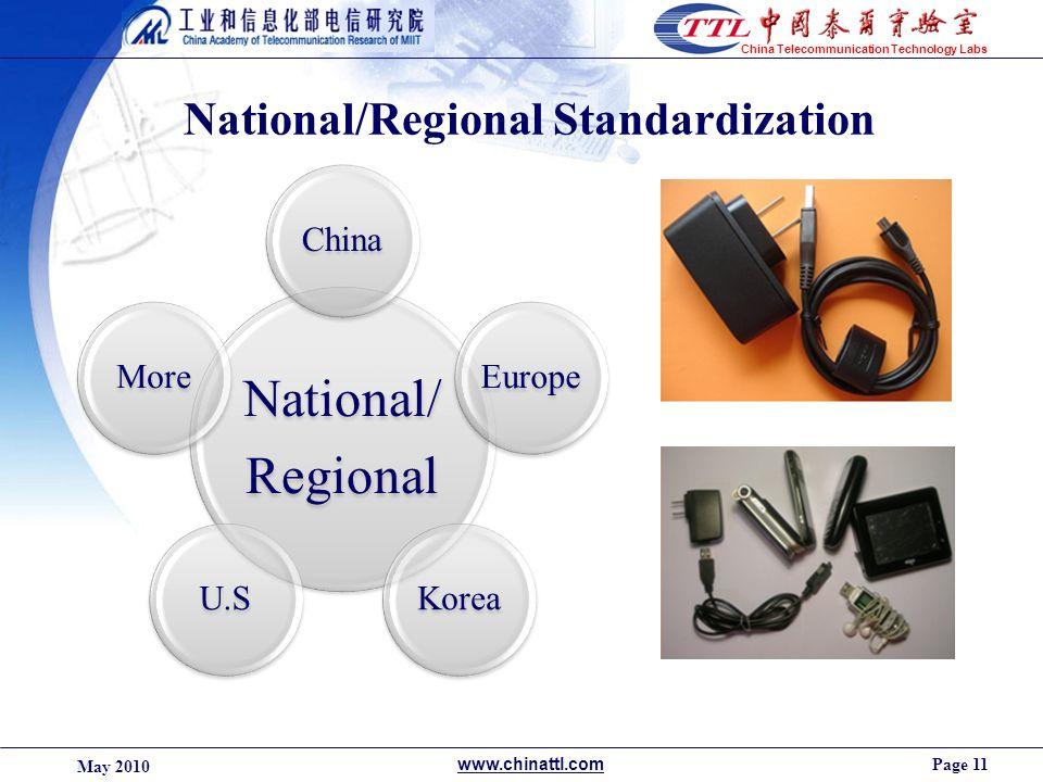 Page 11 May 2010 www.chinattl.com China Telecommunication Technology Labs National/Regional Standardization National/ Regional ChinaEuropeKoreaU.SMore