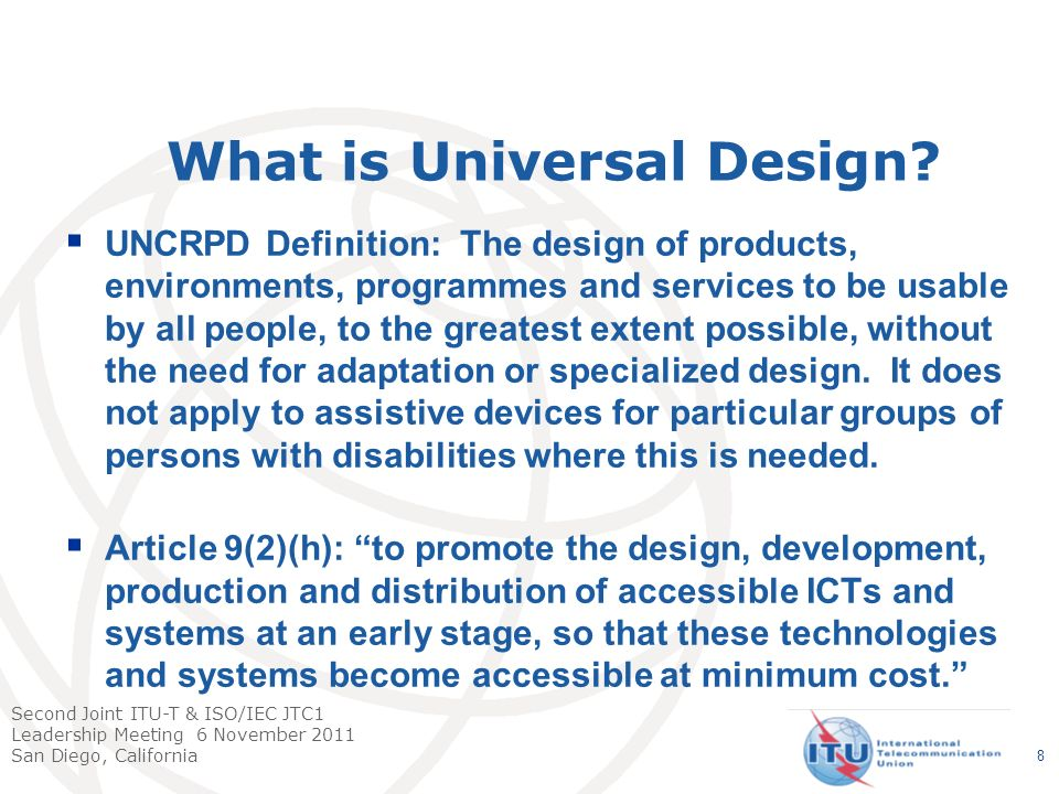 Second Joint ITU-T & ISO/IEC JTC1 Leadership Meeting 6 November 2011 San Diego, California 9 Examples of ITU Standards in Use in the World Today by Persons with Disabilities