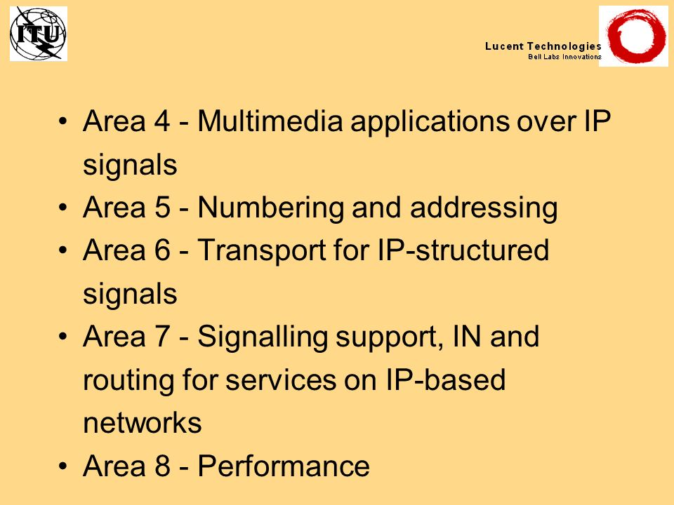 Area 4 - Multimedia applications over IP signals Area 5 - Numbering and addressing Area 6 - Transport for IP-structured signals Area 7 - Signalling su