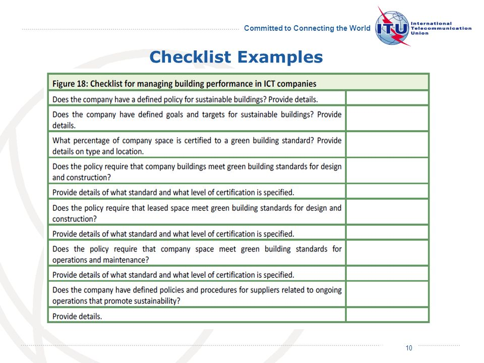 July 2011 Committed to Connecting the World Checklist Examples 10