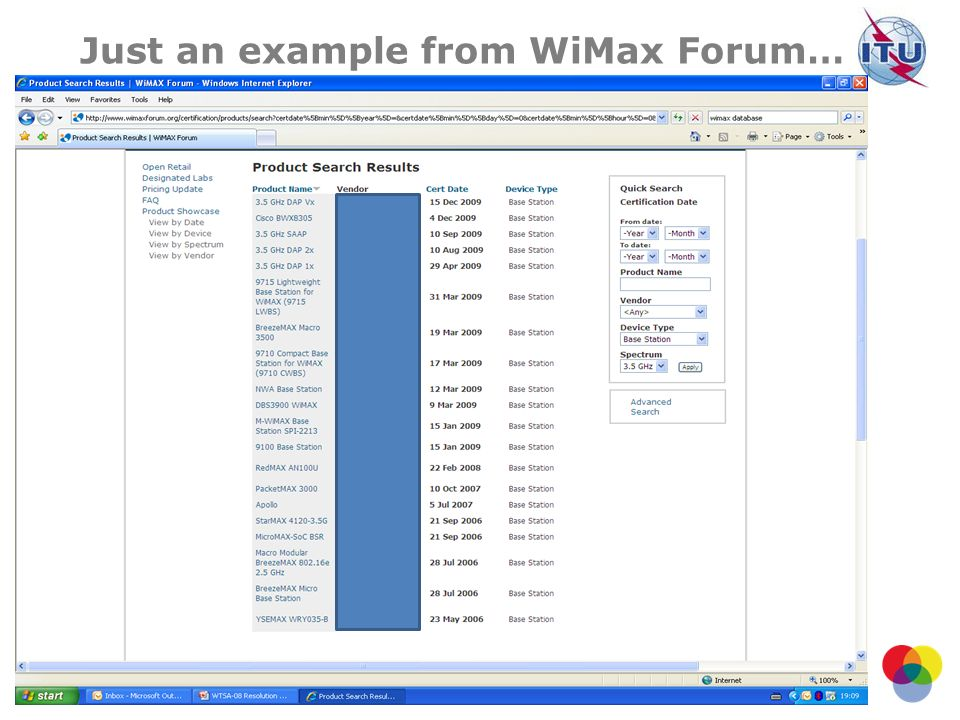 Just an example from WiMax Forum…