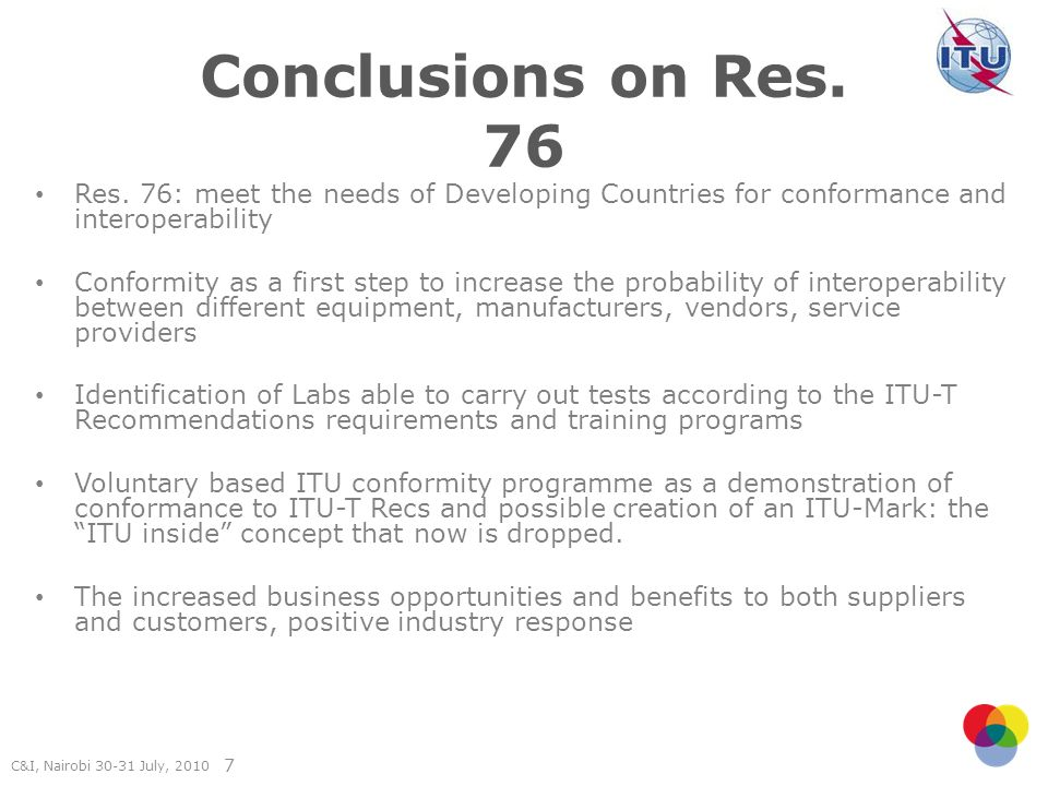C&I, Nairobi July, Conclusions on Res.