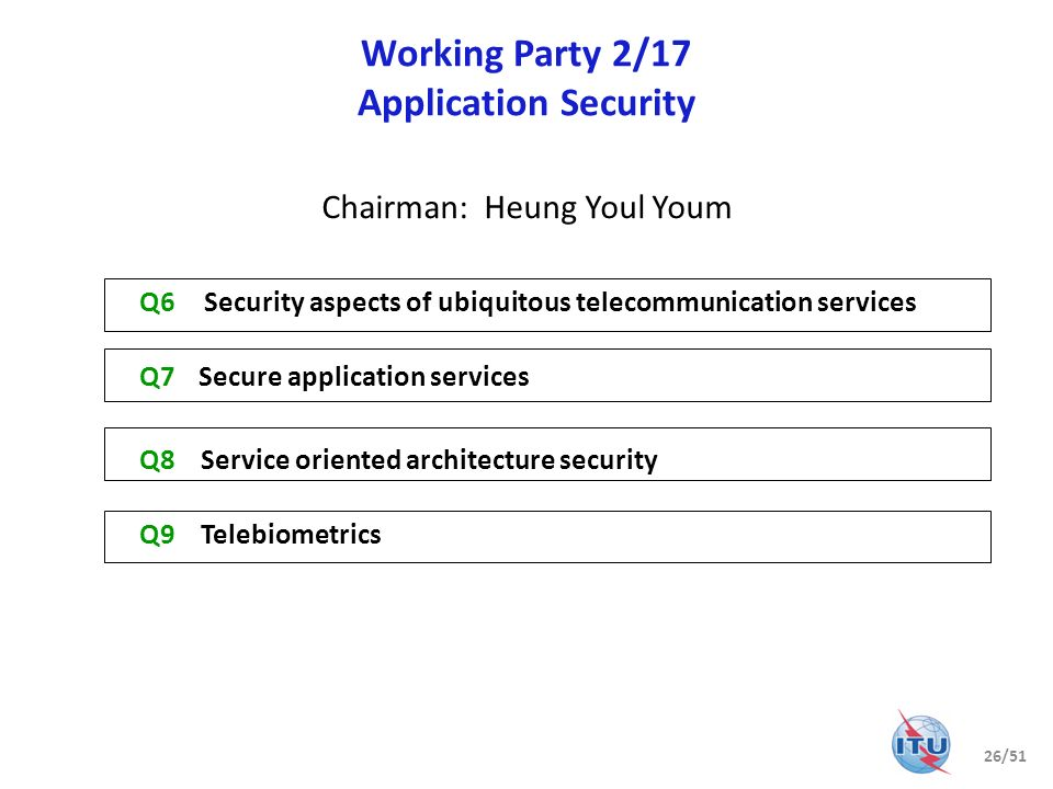 Question 6/17 Security aspects of ubiquitous telecommunication services Multicast security X.1101, Security requirements and framework for multicast communication Home network security X.1111, Framework for security technologies for home network X.1112, Device certificate profile for the home network X.1113, Guideline on user authentication mechanism for home network services X.1114, Authorization framework for home network Mobile security X.1121, Framework of security technologies for mobile end-to-end data communications X.1122, Guideline for implementing secure mobile systems based on PKI X.1123, Differentiated security service for secure mobile end-to-end data communication X.1124, Authentication architecture for mobile end-to-end data communication X.1125, Correlative reacting system in mobile data communication X.msec-5, Security requirements and mechanism for reconfiguration of mobile device with multiple communication interfaces X.msec-6, Security aspects of mobile phones Networked ID security X.1171, Threats and requirements for protection of personally identifiable information in applications using tag-based identification X.1175, Guidelines on protection of personally identifiable information in the application of RFID technology 27/51