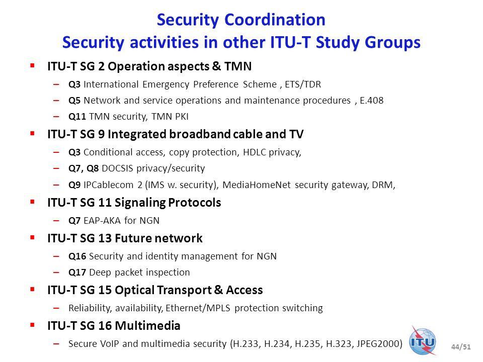 Coordination with other bodies ITU-D, ITU-R, xyz… Study Group 17 45/51