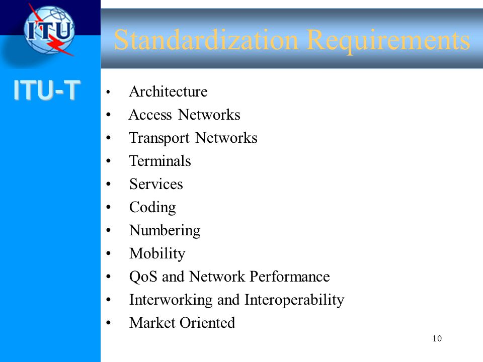ITU-T 10 Architecture Access Networks Transport Networks Terminals Services Coding Numbering Mobility QoS and Network Performance Interworking and Int