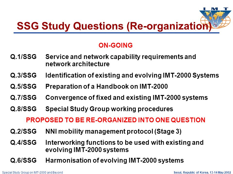Seoul, Republic of Korea, 13-14 May 2002Special Study Group on IMT-2000 and Beyond SSG Study Questions (Re-organization) ON-GOING Q.1/SSGService and network capability requirements and network architecture Q.3/SSGIdentification of existing and evolving IMT-2000 Systems Q.5/SSGPreparation of a Handbook on IMT-2000 Q.7/SSGConvergence of fixed and existing IMT-2000 systems Q.8/SSGSpecial Study Group working procedures PROPOSED TO BE RE-ORGANIZED INTO ONE QUESTION Q.2/SSGNNI mobility management protocol (Stage 3) Q.4/SSGInterworking functions to be used with existing and evolving IMT-2000 systems Q.6/SSGHarmonisation of evolving IMT-2000 systems