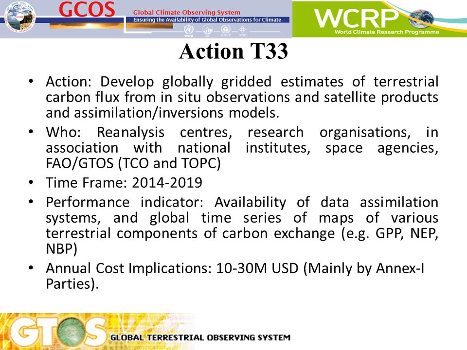 Action T33 Action: Develop globally gridded estimates of terrestrial carbon flux from in situ observations and satellite products and assimilation/inv