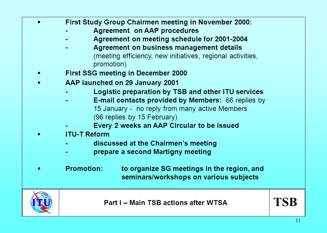 TSB 11 First Study Group Chairmen meeting in November 2000: -Agreement on AAP procedures -Agreement on meeting schedule for 2001-2004 -Agreement on bu