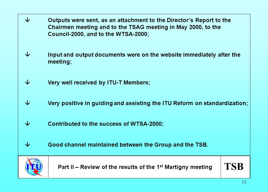 TSB 12 Outputs were sent, as an attachment to the Directors Report to the Chairmen meeting and to the TSAG meeting in May 2000, to the Council-2000, a