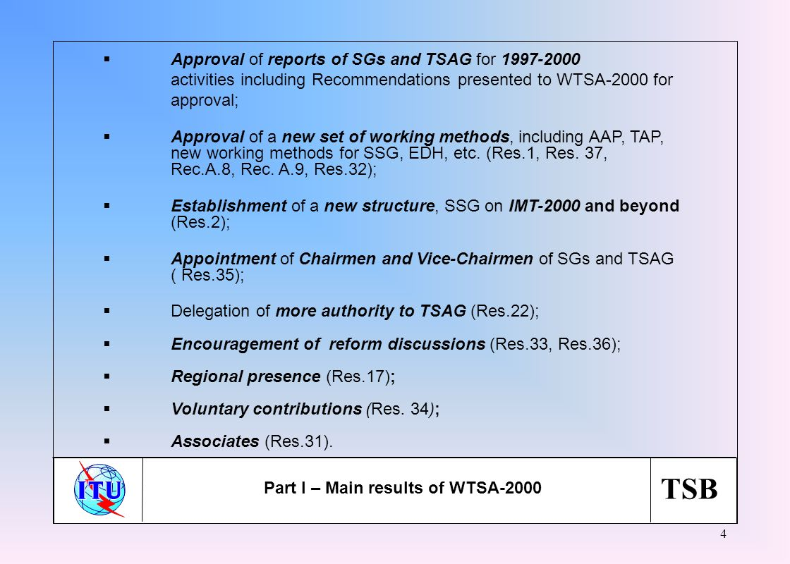 TSB 4 Approval of reports of SGs and TSAG for 1997-2000 activities including Recommendations presented to WTSA-2000 for approval; Approval of a new se