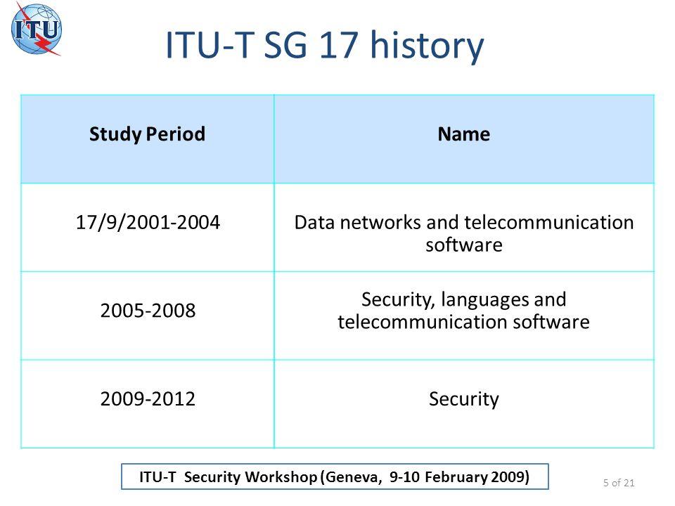 ITU-T Security Workshop (Geneva, 9-10 February 2009) Summary 16 of 21 2.
