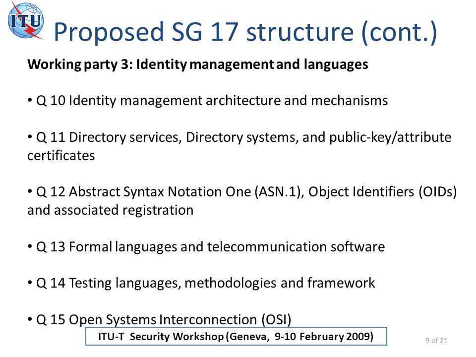 ITU-T Security Workshop (Geneva, 9-10 February 2009) Proposed SG 17 structure (cont.) 9 of 21 Working party 3: Identity management and languages Q 10 Identity management architecture and mechanisms Q 11 Directory services, Directory systems, and public-key/attribute certificates Q 12 Abstract Syntax Notation One (ASN.1), Object Identifiers (OIDs) and associated registration Q 13 Formal languages and telecommunication software Q 14 Testing languages, methodologies and framework Q 15 Open Systems Interconnection (OSI)
