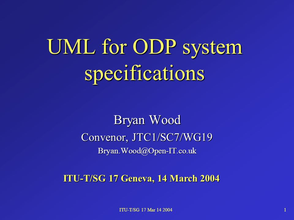 ITU-T/SG 17 Mar 14 200412 The engineering specification Specifies the mechanisms and services that provide the distribution transparencies and QoS constraints required by the systemSpecifies the mechanisms and services that provide the distribution transparencies and QoS constraints required by the system An object model of the system describing the infrastructure supporting the computational structureAn object model of the system describing the infrastructure supporting the computational structure –basic engineering objects –(infrastructure) engineering objects –clusters, capsules, nodes –channels –functions