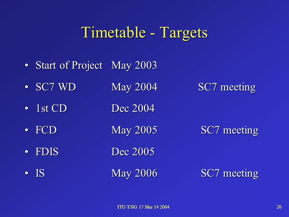 ITU-T/SG 17 Mar 14 200420 Timetable - Targets Start of ProjectMay 2003Start of ProjectMay 2003 SC7 WDMay 2004SC7 meetingSC7 WDMay 2004SC7 meeting 1st CDDec 20041st CDDec 2004 FCDMay 2005 SC7 meetingFCDMay 2005 SC7 meeting FDISDec 2005FDISDec 2005 ISMay 2006 SC7 meetingISMay 2006 SC7 meeting