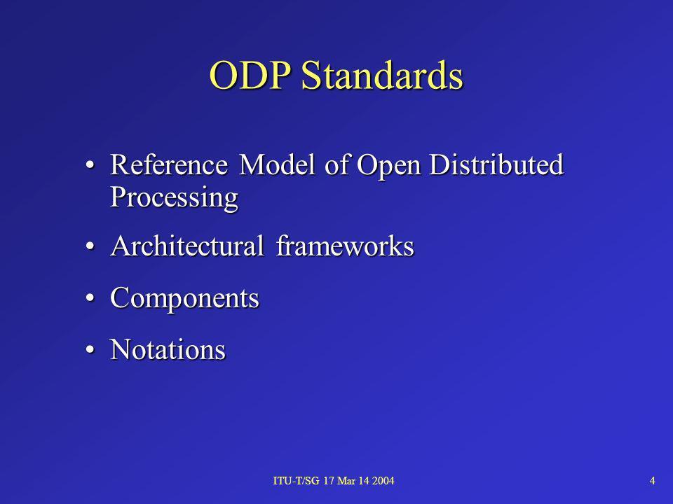 ITU-T/SG 17 Mar 14 20044 Reference Model of Open Distributed ProcessingReference Model of Open Distributed Processing Architectural frameworksArchitec