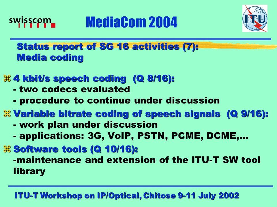 ITU-T Workshop on IP/Optical, Chitose 9-11 July 2002 MediaCom 2004 27 28 29 30 31 32 33 34 35 36 37 38 39 050100150200250 Bit-rate [kbit/s] Foreman QCIF 10Hz Quality Y-PSNR [dB] MPEG-2 H.263 MPEG-4 JVT/H.26L