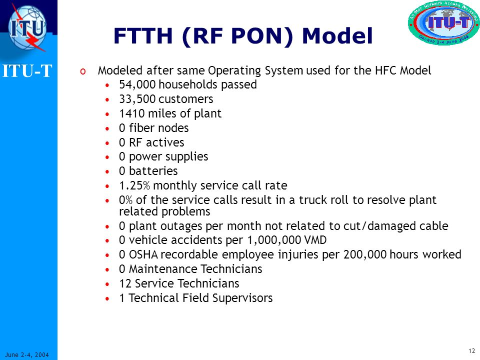 ITU-T 12 June 2-4, 2004 FTTH (RF PON) Model o Modeled after same Operating System used for the HFC Model 54,000 households passed 33,500 customers 1410 miles of plant 0 fiber nodes 0 RF actives 0 power supplies 0 batteries 1.25% monthly service call rate 0% of the service calls result in a truck roll to resolve plant related problems 0 plant outages per month not related to cut/damaged cable 0 vehicle accidents per 1,000,000 VMD 0 OSHA recordable employee injuries per 200,000 hours worked 0 Maintenance Technicians 12 Service Technicians 1 Technical Field Supervisors