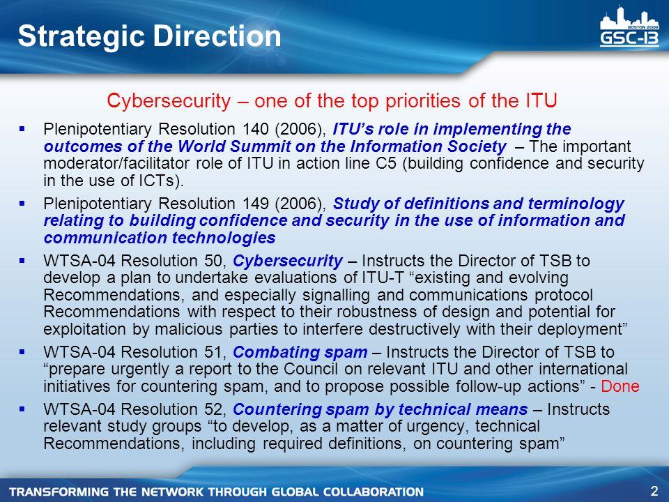 23 ITU Global Cybersecurity Agenda & ITU Activities in Cybersecurity: http://www.itu.int/cybersecurity/ Email: gca@itu.intgca@itu.int For More information on: