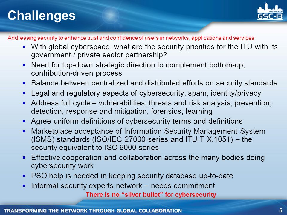 26 ITU-T SG 17 ITU-T Study Group 17 Security, Languages and Telecommunication Software Q.4/17, Communications Systems Security Project Q.5/17, Security Architecture and Framework Q.6/17, Cyber Security Q.7/17, Security Management Q.8/17, Telebiometrics Q.9/17, Secure Communication Services Q.17/17, Countering Spam by Technical Means Q.2/17, Directory Services, Directory Systems and Public-key/Attribute Certificates