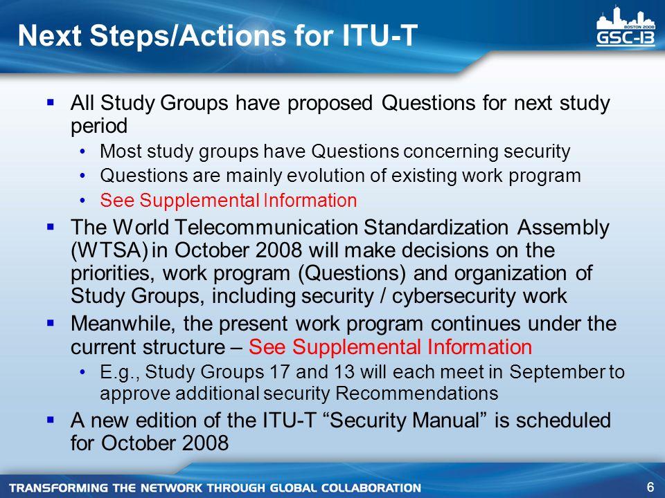 47 SG 17 – Q.6/17 collaboration with other SDOs ISO/IEC JTC 1/SC 27 IEC/TC 25 IETF IEEE Liberty Alliance OASIS W3C 3GPP ETSI/TISPAN